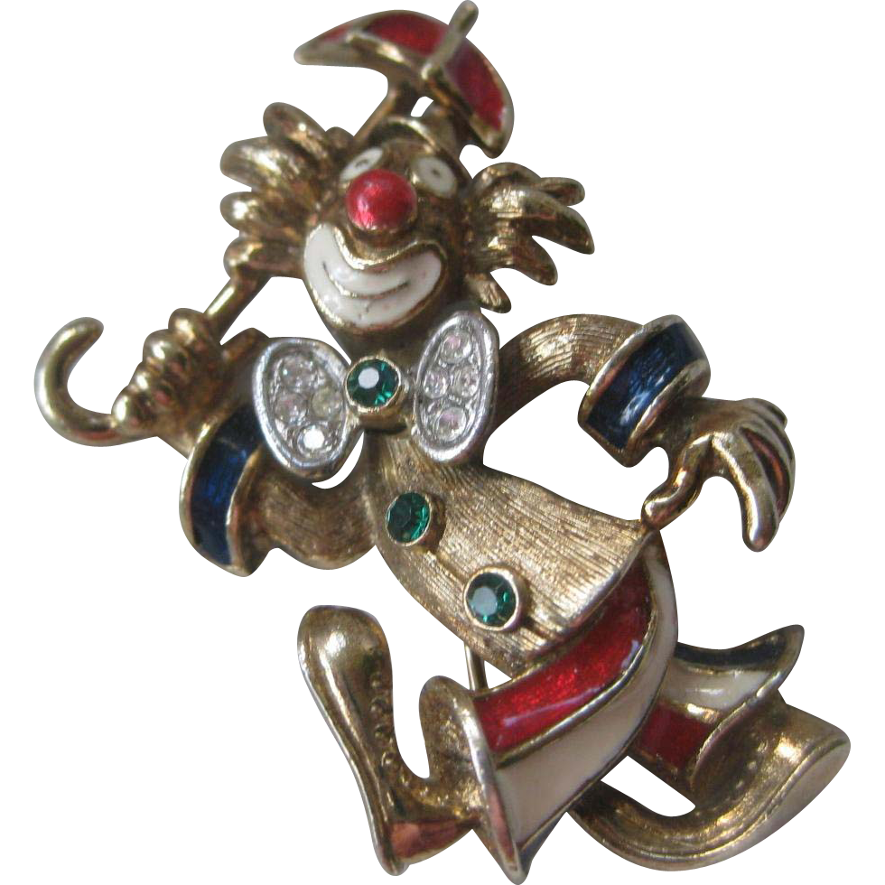 Attwood & Sawyer Figural Clown Enamel & Rhinestones Pin Brooch