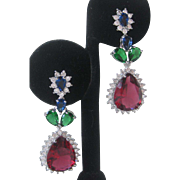 Ruby Emerald Tanzanite & Clear Czs Silver Earrings