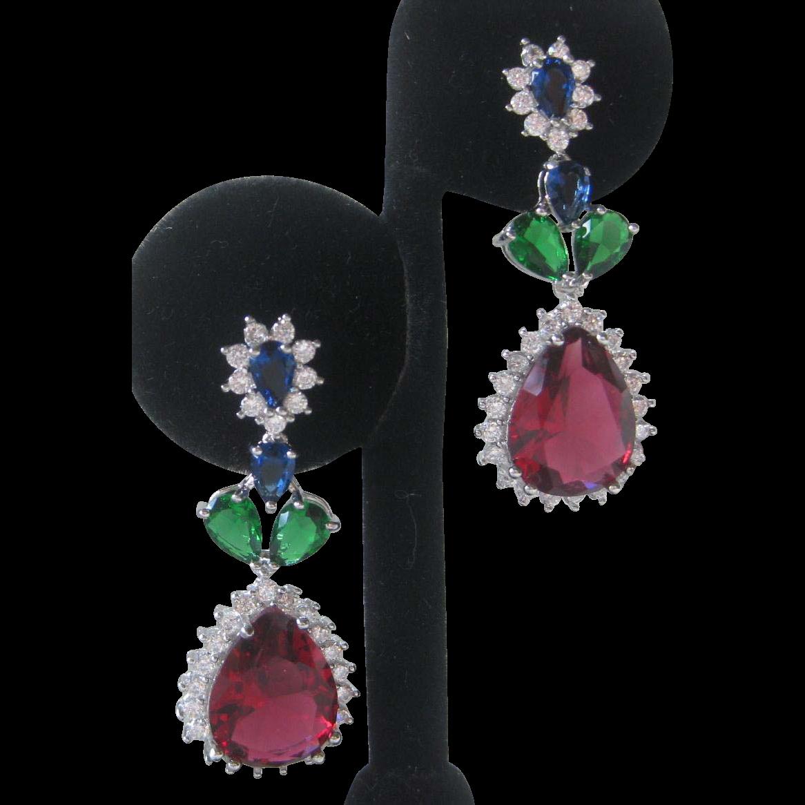 Ruby Emerald Tanzanite & Clear Czs Silver Earrings