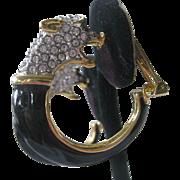 Kenneth Lane Rhinestone & Enamel Vintage Panther Earrings