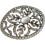 DUPLAISE Large Oval Rhinestones & Pearl Pin Brooch