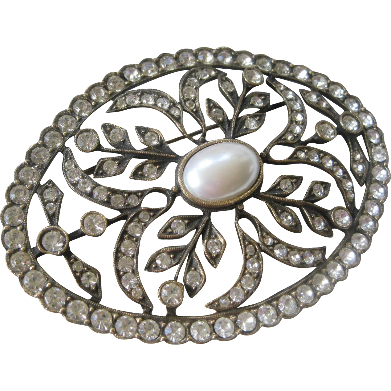 DAUPLAISE Large Oval Rhinestones & Pearl Pin Brooch