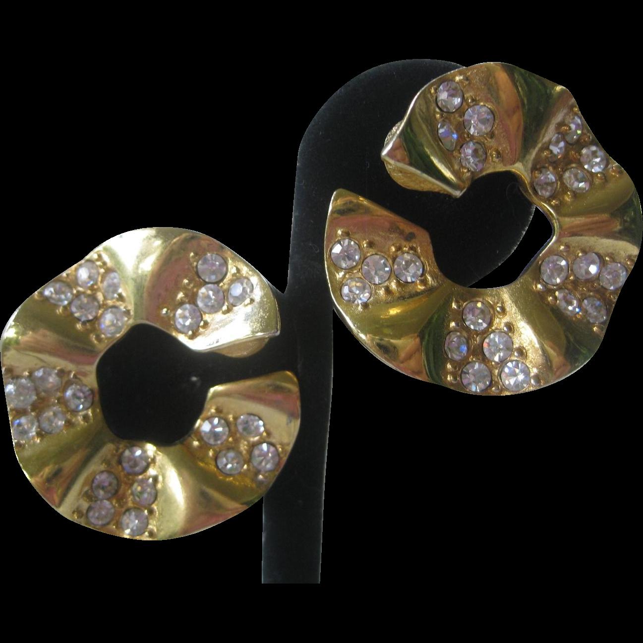 GIVENCHY Ruffled Gold & Rhinestones Earrings