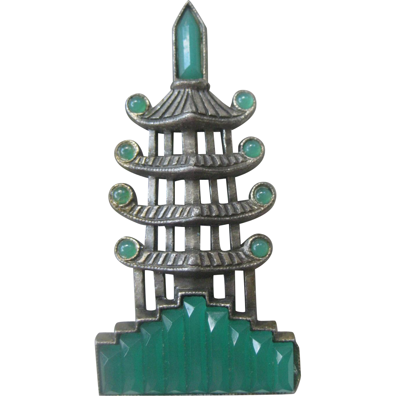 Art Deco Asian Pagoda Green Glass & Antique Silver Vintage Pin Brooch