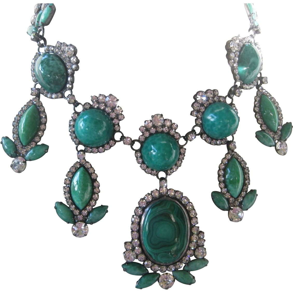 N.Y. Designer Glass Marbled Green Stones & Rhinestones Huge One Of A Kind Bib Necklace
