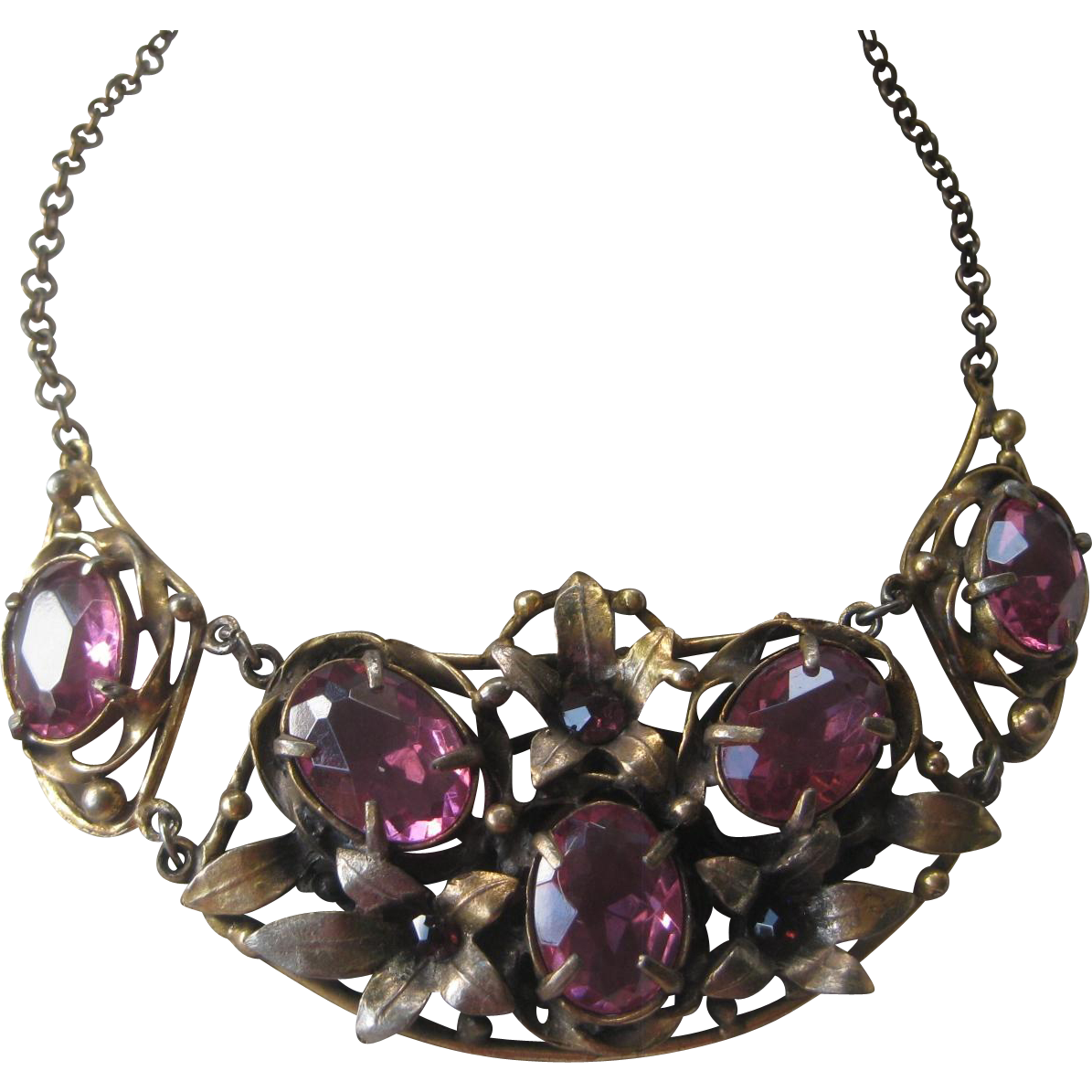 Large Hungarian Open Glass Purple Stones & Antique Brass Bib Necklace