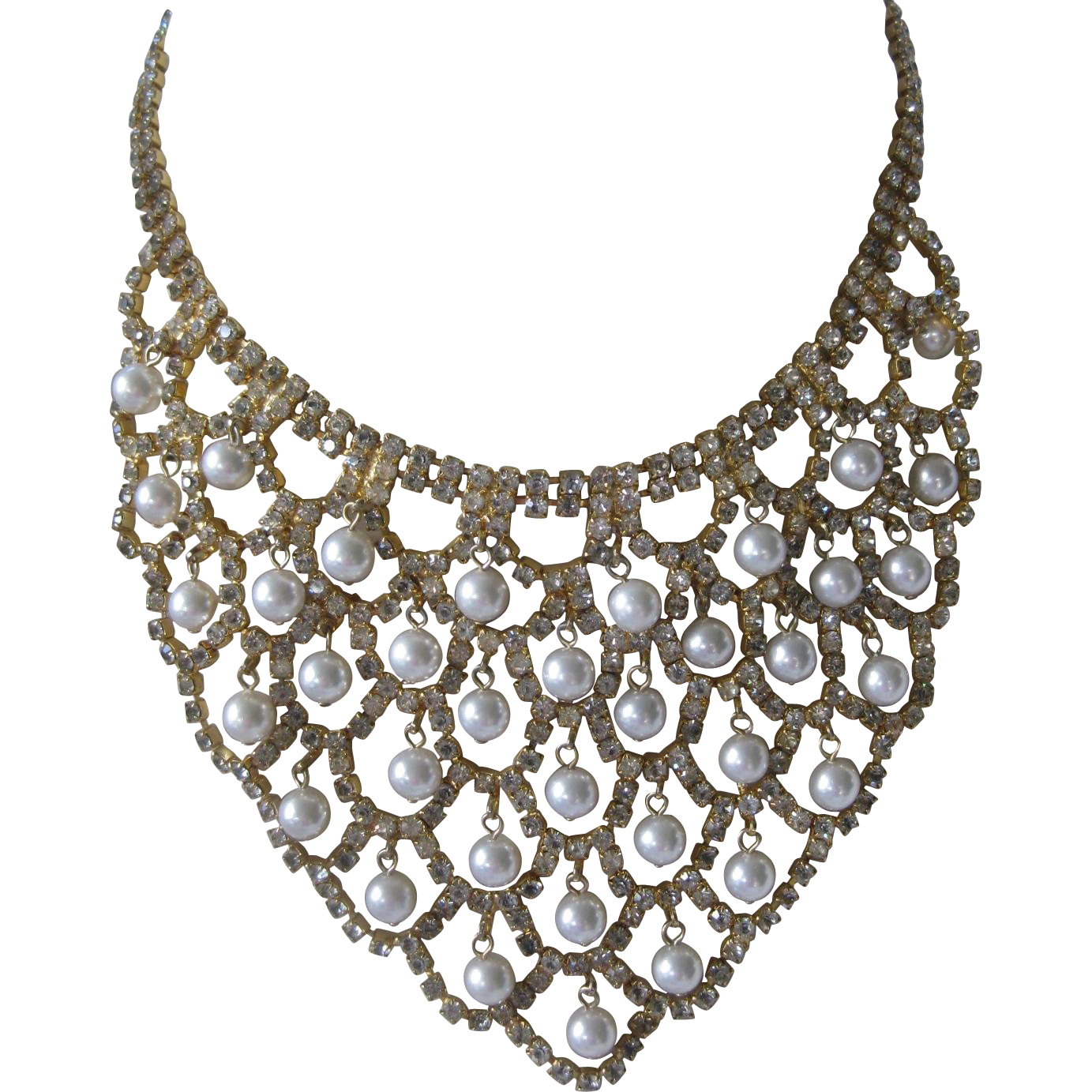Pearls & Rhinestones Large Vintage Bib Necklace