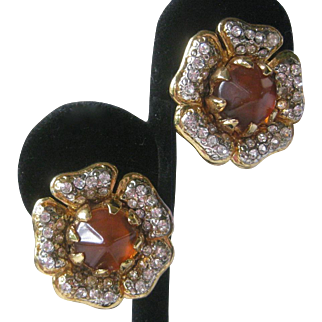 VALENTINO Beautiful Rhinestones & Citrine Glass Vintage Earrings