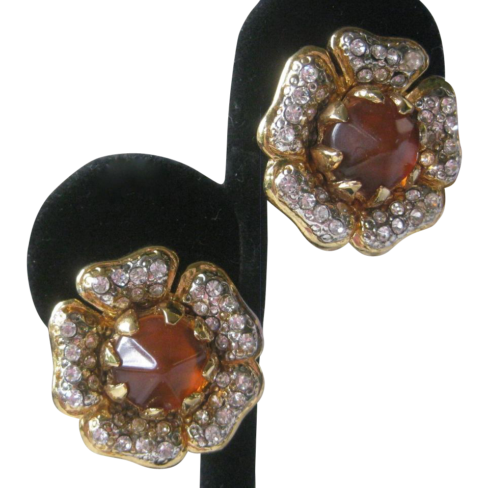 VALENTINO Beautiful Rhinestones & Citrine Glass Vintage Earrings