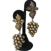 JOSEFF Antique Brass Grapes Hanging Vintage Earrings