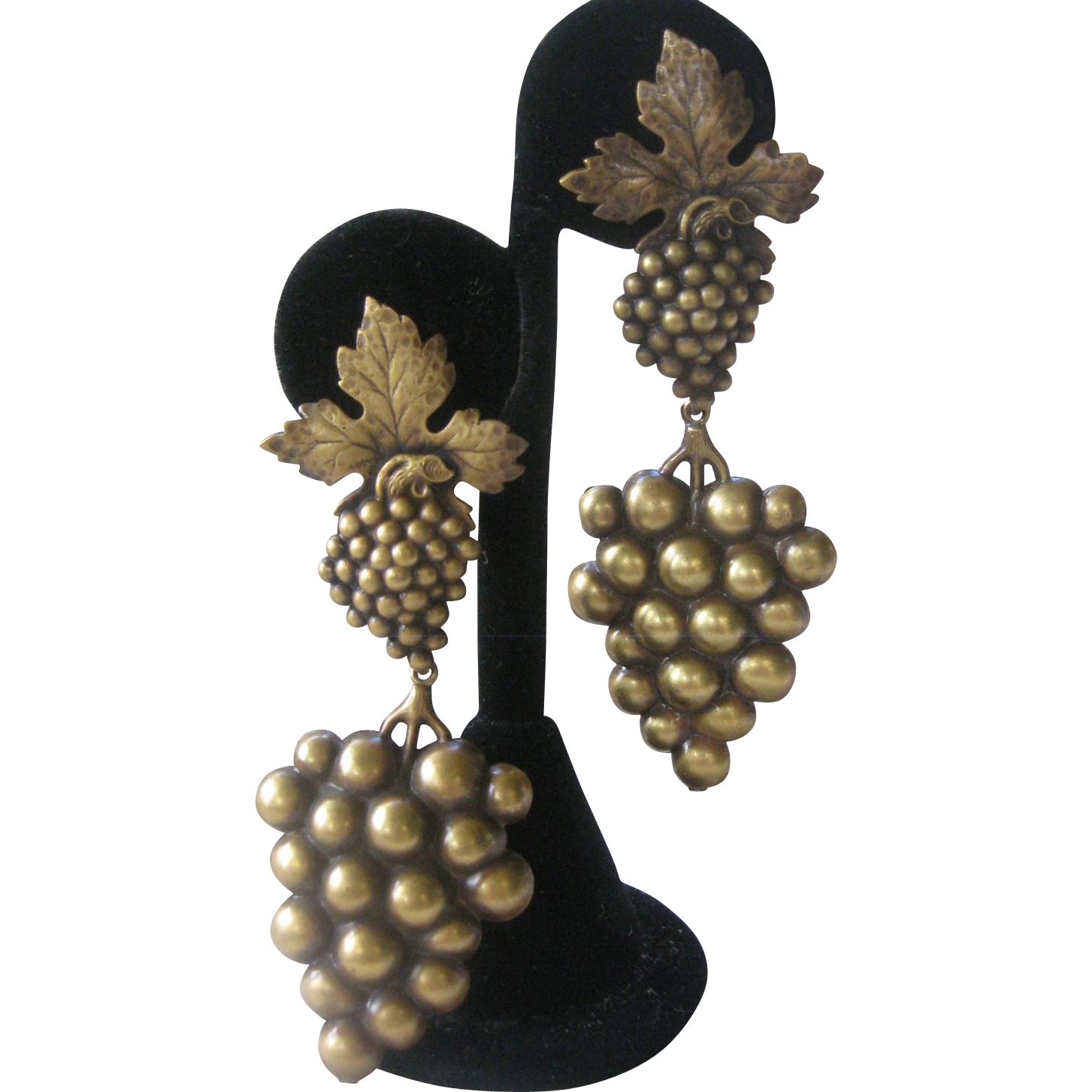 JOSEFF Antique Brass Grapes Hanging Vintage Earrings
