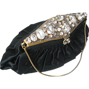 Lots Of Glass Stones & Rhinestones Beautiful Vintage Black Satin Purse
