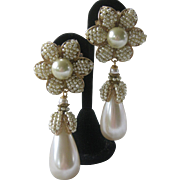 Lawrence VRBA Large One Of A Kind Pearls Flower Earrings