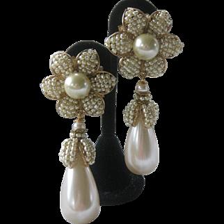 Lawrence VRBA Large One Of A Kind Pearls Flower Earrings