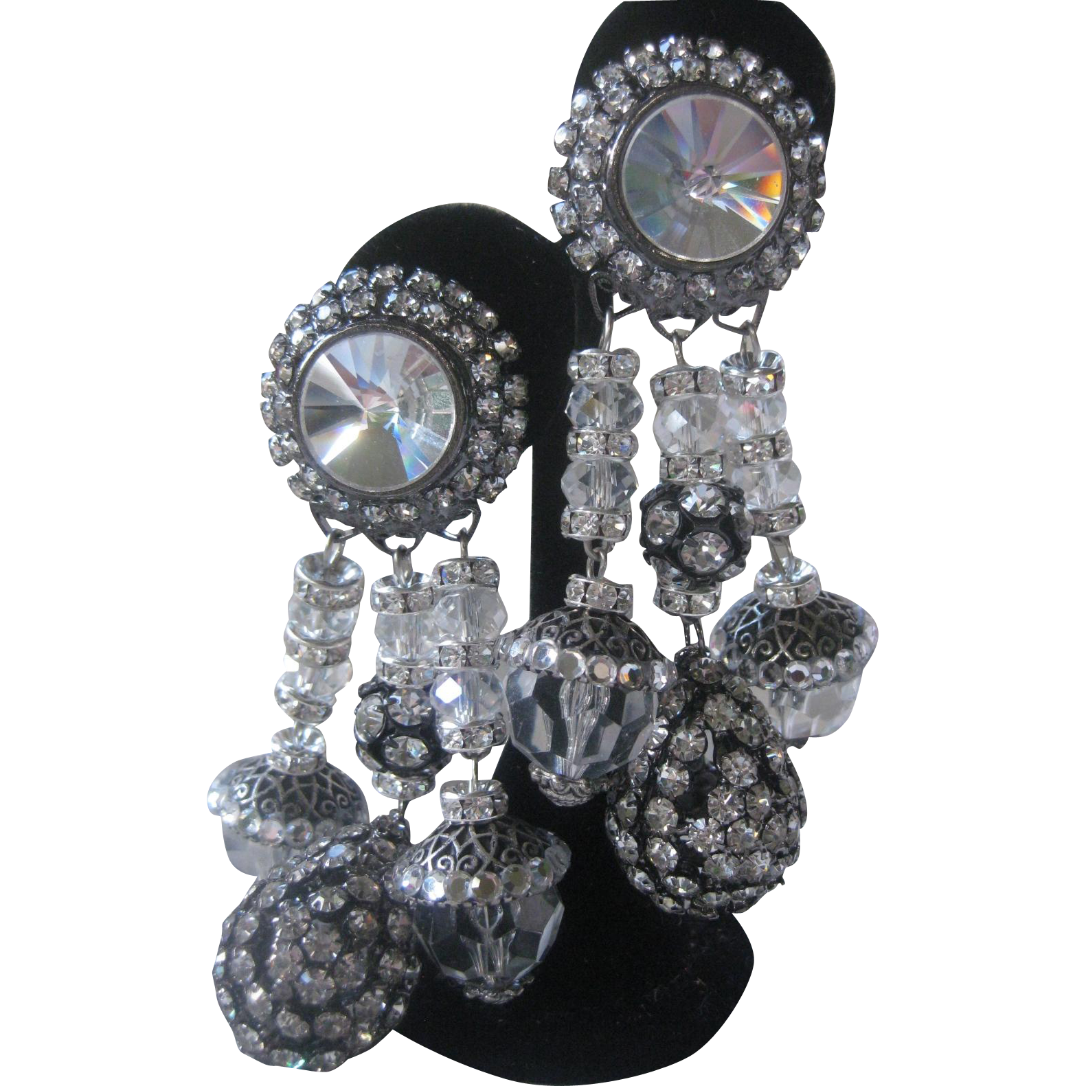 VRBA Large Rhinestones And Crystals Theatrical Earrings