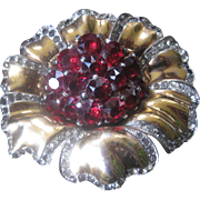 Marcel Boucher Signed MB Large Red Stones & Rhinestones Brooch Pin