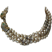 Donald Stannard Exquisite Dragons Vintage Rhinestones Rondelles & 5 Strand Glass Pearls Necklace
