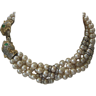 Donald Stannard Exquisite Dragons Vintage Rhinestones Rondelles & 5 Strand Glass Pearls Necklace