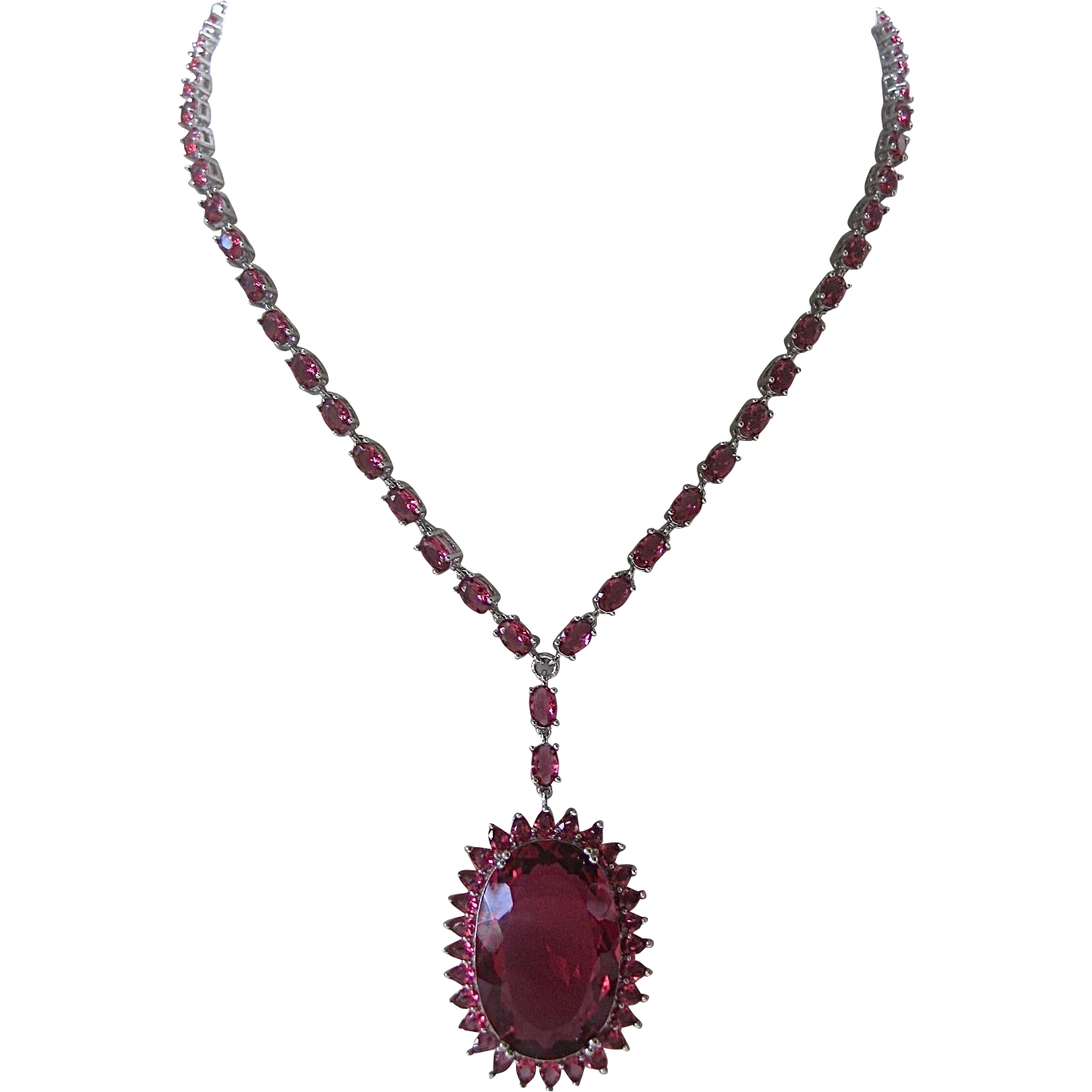 Raspberry Rhodolite Garnet 925 Sterling Silver Necklace