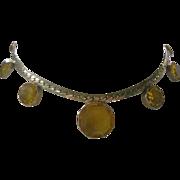 Vintage Citrine Glass Open Stones Necklace