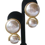 KARL LAGERFELD Stunning Large Pearls Vintage Earrings