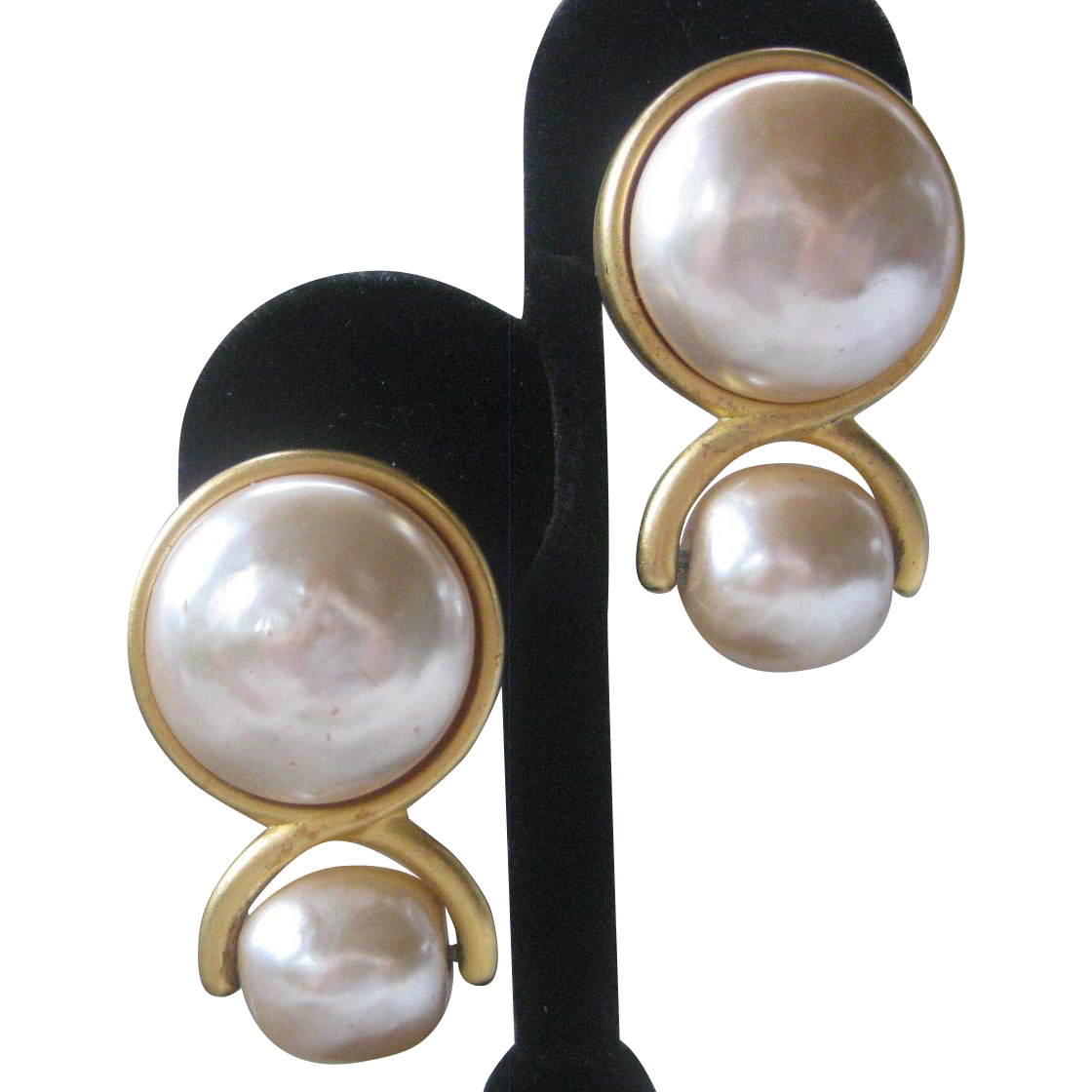 KARL LAGERFELD Stunning Large Pearls Vintage Earrings