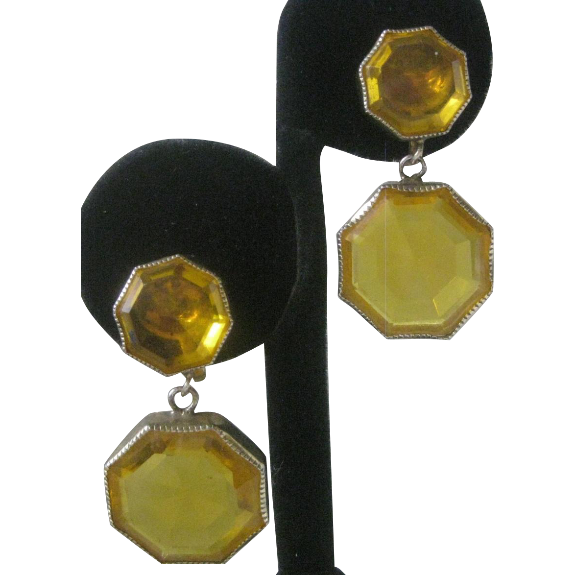 Stunning Citrine Open Back Glass Dangling Screwback Vintage Earrings