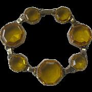 Large Open Back Citrine Glass Stones Vintage Bracelet