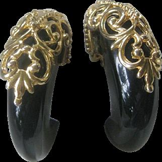 Jet Black Lucite & Gold Overlay Vintage Earrings