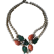 Beautiful Vintage Unsigned Trifari Pearls & Fruitsalad Necklace