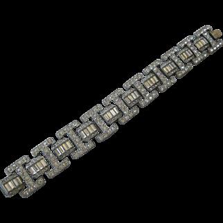 Heavy Wide Art Deco French Paste& Baguettes Vintage Bracelet