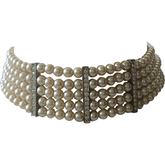 CAROLEE Vintage Pearls & Rhinestones Vintage Choker Necklace