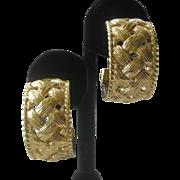 NINA RICCI Beautiful Basket Weave Gold Tone Large Hoop Earrings