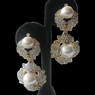 CRAFT Gorgeous Vintage Rhinestones & Pearls Dangling Earrings