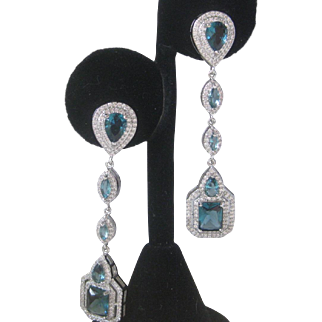 Long Stunning Blue Topaz Glass & CZs Shoulder Duster Earrings 925