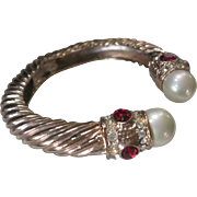 1980s Rhinestones & Pearls Gold Tone Cuff Bangle Bracelet