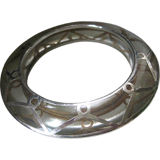 Vintage Lucite With Silver Overlay Design Bangle Cuff Bracelet