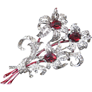 TRIFARI Large Vintage Red Glass Rhinestones & Enamel Fur Clip