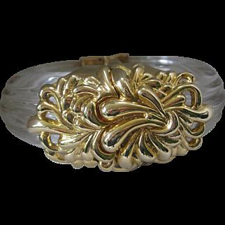 Stunning Vintage Lucite & Gold Tone Large Cuff Bracelet