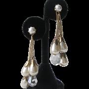 Vintage Glass Pearls & Crystals Dangling Earrings