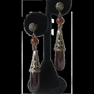 Beautiful Topaz Glass Long Drop Vintage Earrings