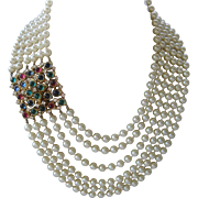 CINER Huge 6 Strand Glass Pearls & Large Cabochons & Rhinestones Necklace