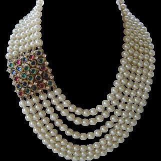 CINER Huge 6 Strand Glass Pearls & Large Cabochons & Rhinestones Necklace