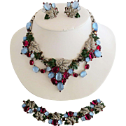 Trifari KTF Enameled and Jeweled Grape Necklace Earrings and Bracelet Set