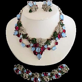 Trifari KTF Enameled and Jeweled Grape Necklace Earrings and Bracelet Set