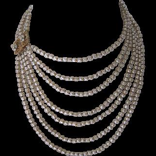 MIRIAM HASKELL 7 Strand Pearls Beautiful Vintage Bib Necklace