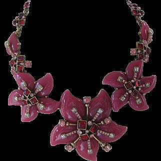 Osca De La-Renta Raspberry Moon Flower Huge Bib Necklace
