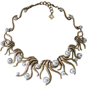OSCAR DE LA RENTA Stunning Pearls & Gold Tone Large Bib Necklace