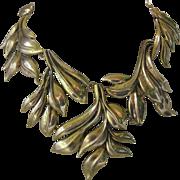 Oscar De La Renta Huge Leafy Design Gold Tone Signed Necklace