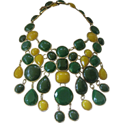 Greens & Yellow Large Stones Bib Huge Necklace